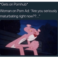 """Funny, Pornhub, and Porn: *Gets on Pornhub*  Woman on Porn Ad: """"Are you seriously  maturbating right now??..."""" Nah I'm not about to beat the skin off my meat I'm on here for research purposes"""