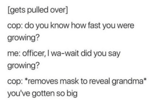 meirl: [gets pulled over]  cop: do you know how fast you were  growing?  me: officer, I wa-wait did you say  growing?  cop: *removes mask to reveal grandma*  you've gotten so big meirl