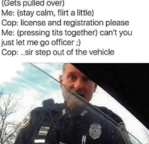 me_irl: (Gets pulled over)  Me: (stay calm, flirt a little)  Cop: license and registration please  Me: (pressing tits together) can't you  just let me go officer;)  Cop: .sir step out of the vehicle me_irl