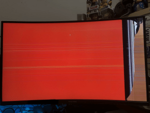 """Getting an adjustable arm for my 32"""" curved panel seemed like a good idea. This happened while trying to mount the panel to the arm.: Getting an adjustable arm for my 32"""" curved panel seemed like a good idea. This happened while trying to mount the panel to the arm."""