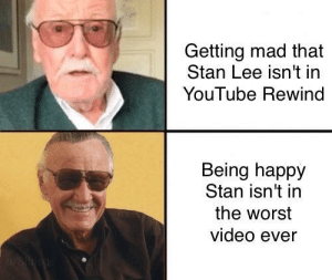 Stan, Stan Lee, and The Worst: Getting mad that  Stan Lee isn't in  YouTube Rewind  Being happy  Stan isn't in  the worst  video ever Be happy