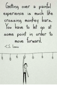 Be tough 💪: Getting over a paintin  experience is much Ike  crossing monkey bars.  You have to let go at  some point in order to  move forward  -CS. Lewis Be tough 💪