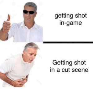 True, Game, and True Story: getting shot  in-game  Getting shot  in a cut scene  MAM True story
