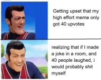 Meme, Shit, and Got: Getting upset that my  high effort meme only  got 40 upvotes  realizing that if I made  a joke in a room, and  40 people laughed, i  would probably shit  myself oc maymay