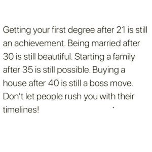 Beautiful, Family, and Introvert: Getting your first degree after 21 is still  an achievement. Being married after  30 is still beautiful. Starting a family  after 35 is still possible. Buying a  house after 40 is still a boss move  Don't let people rush you with their  timelines! introvertproblems:Follow Introvert Nation @introvertproblems