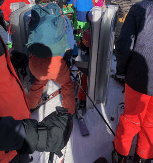 Getting your leg stuck in a skiing turnstile: Getting your leg stuck in a skiing turnstile