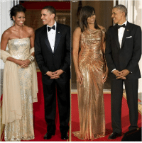 President Obama and First Lady Michelle Obama at their first and last state dinners.: GETTY  A President Obama and First Lady Michelle Obama at their first and last state dinners.