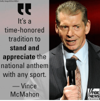 """Chairman and CEO of @wwe Vince McMahon said on Thursday it would be """"appropriate"""" for XFL players to stand for the national anthem when the pro football league returns in 2020.: Getty Image/Ethan Miller  It's a  time-honored  tradition to  stand and  appreciate the l、  national anthem  with any sport.  Vince  McMahon  FOX  NEWS  channe Chairman and CEO of @wwe Vince McMahon said on Thursday it would be """"appropriate"""" for XFL players to stand for the national anthem when the pro football league returns in 2020."""