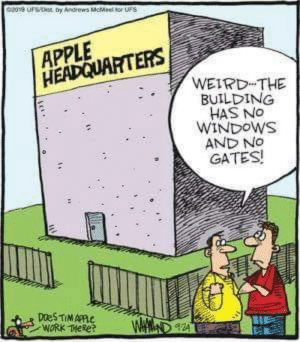And also no jobs: Geu  ty Andrews cMe tor uS  APPLE  HEADQUARTERS  WEIRD THE  BUILDING  HAS NO  WINDOWS  AND NO  GATES!  DaeS TIMAPPC  WORK THeke  WAM And also no jobs