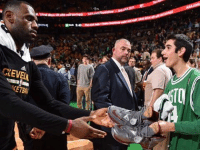 Respect, Sneakers, and Sports: GEVELA  KETBAL @kingjames gives his game-worn sneakers to Special Olympics MVP Aaron Miller after last night's game. Respect (via @brian_babs_babineau)
