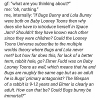 """Bugs Bunny, Children, and Dank: gf: """"what are you thinking about?""""  me: """"oh, nothing.""""  me, internally: if Bugs Bunny and Lola Bunny  were both on Baby Looney Toons then why  does she have to introduce herself in Space  Jam? Shouldn't they have known each other  since they were children? Could the Looney  Toons Universe subscribe to the multiple  worlds theory where Bugs and Lola never  met? but how far does this, for lack of a better  term, rabbit hole, go? Elmer Fudd was on Baby  Looney Toons as well, which means that he and  Bugs are roughly the same age but as an adult  he is Bugs' primary antagonist? The lifespan  of a rabbit is 9-12 years and Elmer is clearly an  adult. How can that be? Could Bugs bunny be  immortal?"""" Watch how the media ignores this ☕️"""