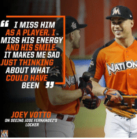 """GG I MISS HIM  AS A PLAYER. I  MISS HIS ENERGY  AND HIS SMILE  IT MAKES ME SAD  JUST THINKING  ABOUT WHAT  ATION  COULD HAVE  BEEN 55  JOEY VOTTO  ON SEEING JOSE FERNANDEZ'S  LOCKER Joey Votto on seeing Jose Fernandez's locker. """"I Miss him as a player. I miss his energy and his smile. It makes me sad just thinking about what could have been"""" _ Marlins Miami MiamiMarlins JoeyVotto Respect JDF16 LetsGoFish AllStarGame JoseFernandez"""