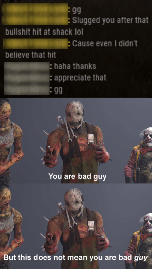 Bad, Fucking, and Gg: gg  : Slugged you after that  bullshit hit at shack lol  Cause even I didn't  believe that hit  haha thanks  appreciate that  You are bad guy  But this does not mean you are bad guy Killers and Survivors alike can agree that hitboxes are fucking garbage