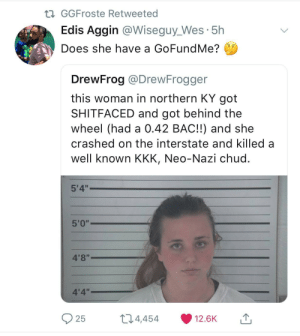 "Dank, Kkk, and Memes: GGFroste Retweeted  Edis Aggin @Wiseguy_Wes 5h  Does she have a GoFundMe?  DrewFrog @DrewFrogger  this woman in northern KY got  SHITFACED and got behind the  wheel (had a 0.42 BAC!!) and she  crashed on the interstate and killed a  well known KKK, Neo-Nazi chud  5'4""  4'8""  4'4""  25  t 4,  454  12.6K Gods plan by voss_man FOLLOW HERE 4 MORE MEMES."