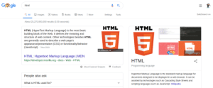 Books, News, and Videos: Ggle  html  Images  a All  SafeSearch on  News  Books  Videos  More  Settings  Tools  About 25,270,000,000 results (0.55 seconds)  HTML  HTML  HTML (HyperText Markup Language) is the most basic  building block of the Web. It defines the meaning and  structure of web content. Other technologies besides HTML  5 5  are generally used to describe a web page's  appearance/presentation (CSS) or functionality/behavior  (JavaScript). 7 Nov 2019  HTML  НTML  en.wikipedia.org  More images  HTML: Hypertext Markup Language   MDN  http://developer.mozilla. org > docs Web > HTML  HTML  Programming language  Feedback  ?About Featured Snippets  Hypertext Markup Language is the standard markup language for  People also ask  documents designed to be displayed in a web browser. It can be  assisted by technologies such as Cascading Style Sheets and  What is HTML used for?  scripting languages such as JavaScript. Wikipedia html a programming language? When did that happen?