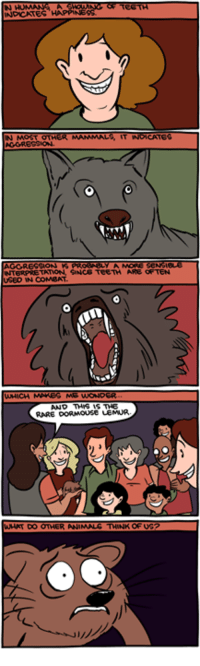 Memes, Weird, and Animal: GGRESSION  INTERPRETATION. SANCG TeeTH ARE OFTEN  USED IN COMBAT  MG WONO  AND THIS IS THE  RARE DORMOUSE LEMUR  DO OTHER ANIMAL TMNK OF UG Smile! http://smbc-comics.com/index.php?id=3172  PS: Please check out my new book on weird technology: http://smbc-comics.com/soonish/