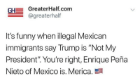 "- Follow @greaterhalf if you're full blooded American 🇺🇸 - @greaterhalf @greaterhalf @greaterhalf: GH GreaterHalf.com  @greaterhalf  It's funny when illegal Mexican  immigrants say Trump is ""Not My  President"" You're right, Enrique Peña  Nieto of Mexico is. Merica. - Follow @greaterhalf if you're full blooded American 🇺🇸 - @greaterhalf @greaterhalf @greaterhalf"