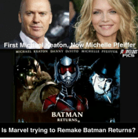 Cast: Michael Keaton: Batman- Vulture Michelle Pfieffer: Cat Woman- Wasp Danny Devito: Penguin- (N-A) [ Who will Marvel cast Danny Devito as? ] spideemanhomecoming infinitywar avengersageofultron batmanreturns theavengers avengersassemble marvelmovies infinitygauntlet marvelcinematicuniverse thevulture blackpanthermovie antmanandthewasp avengersmovie marveluniverse marvelmovie avengersinfinitywar infinitystones michaelkeaton captainmarvelmovie marvelcomics batmanreturns1992 avengersmovie thewasp avengers michellepfieffer mcu marvelphase3 marvelcomic marvelheroes catwoman: ghael eaton, Now Michelle Pfeiffer  MICHAEL KEATON DANNY DEVITO MICHELLE PFEIFFER M RVELDUS  First Mic  PICS  BATMAN  RETURNS  Is Marvel trying to Remake Batman Returns? Cast: Michael Keaton: Batman- Vulture Michelle Pfieffer: Cat Woman- Wasp Danny Devito: Penguin- (N-A) [ Who will Marvel cast Danny Devito as? ] spideemanhomecoming infinitywar avengersageofultron batmanreturns theavengers avengersassemble marvelmovies infinitygauntlet marvelcinematicuniverse thevulture blackpanthermovie antmanandthewasp avengersmovie marveluniverse marvelmovie avengersinfinitywar infinitystones michaelkeaton captainmarvelmovie marvelcomics batmanreturns1992 avengersmovie thewasp avengers michellepfieffer mcu marvelphase3 marvelcomic marvelheroes catwoman