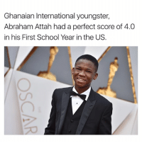 Youngster: Ghanaian International youngster,  Abraham Attah had a perfect score of 4.0  in his First School Year in the US.