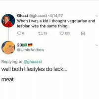 Memes, True, and Lesbian: Ghast @ghaaast 4/14/17  When I was a kid I thought vegetarian and  lesbian was the same thing.  9 6  ロ39  O 133  20回  ク@UmbrAndrew  Replying to @ghaaast  well both lifestyles do lack.  meat That is true