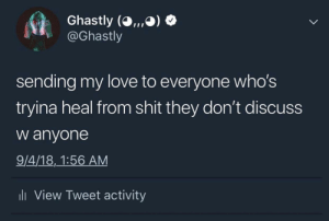 Love, Shit, and Tweet: Ghastly (O,, ,O)  @Ghastly  sending my love to everyone who's  tryina heal from shit they don't discuss  w anyone  9/4/18,1:56 AM  li View Tweet activity