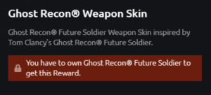 Crazy, Future, and Ghost: Ghost Recon@ Weapon Skin  Ghost Recon Future Soldier Weapon Skin inspired by  Tom Clancy's Ghost Recon Future Soldier.  You have to own Ghost Recon® Future Soldier to  get this Reward. Thats crazy