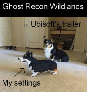 Ubisoft, Ghost, and Ghost Recon: Ghost Recon Wildlands  Ubisoft's trailer  My settings When Ubisoft is telling you when to upgrade your PC