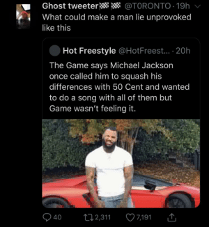Even Pinocchio will blush at such blatant lies: Ghost tweeter * @T0RONTO · 19h  What could make a man lie unprovoked  like this  Hot Freestyle @HotFreest... · 20h  The Game says Michael Jackson  once called him to squash his  differences with 50 Cent and wanted  to do a song with all of them but  Game wasn't feeling it.  O 40  ♡ 7,191  27 2,311 Even Pinocchio will blush at such blatant lies