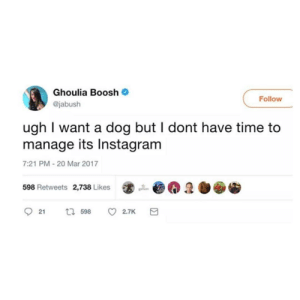 Instagram, Time, and Dog: Ghoulia Boosh *  @jabush  Follow  ugh I want a dog but I dont have time to  manage its Instagram  7:21 PM 20 Mar 2017  @@彐迦@  598 Retweets  2,738 Likes  ר598 2.TK a