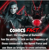 Batman, Memes, and Superman: GI DC NATION  COMICSFA  Grail ( the daughter of Darkseid)  has the ability to lock on the frequency of  those connected to the Speed Force and  use them as bridges to cross universes. When you think about that's really impressive! Would you like to see her in a live action? dc dccomics dceu dcu dcrebirth dcnation dcextendeduniverse batman superman manofsteel thedarkknight wonderwoman justiceleague cyborg aquaman martianmanhunter greenlantern theflash greenarrow suicidesquad thejoker harleyquinn