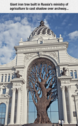Tumblr, Blog, and Giant: Giant iron tree built in Russia's ministry of  agriculture to cast shadow over archway...  au epicjohndoe:  Magnificent Iron Tree