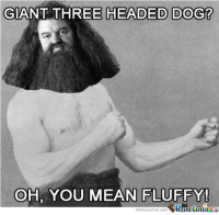 Overly manly Hagrid!: GIANT THREE HEADED DOG?  OH, YOU MEAN FLUFFY!  memerenter.comemeCenter Overly manly Hagrid!