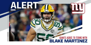 Giants, LB Blake Martinez agree to three-year, $30M deal. (via @MikeGarafolo + @RapSheet) https://t.co/uddGKlYnhe: Giants, LB Blake Martinez agree to three-year, $30M deal. (via @MikeGarafolo + @RapSheet) https://t.co/uddGKlYnhe