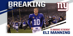 .@Giants QB Eli Manning to announce retirement from NFL after 16 seasons. https://t.co/WbrDGCNB8e: .@Giants QB Eli Manning to announce retirement from NFL after 16 seasons. https://t.co/WbrDGCNB8e