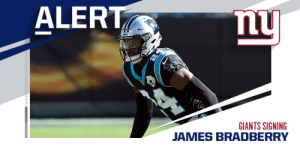 Giants signing CB James Bradberry to three-year, $45 million deal. (via @RapSheet) https://t.co/t1L0CKfJ9c: Giants signing CB James Bradberry to three-year, $45 million deal. (via @RapSheet) https://t.co/t1L0CKfJ9c