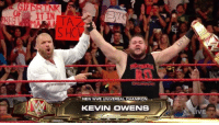 Being Alone, Life, and Memes: GIFERTNK  T IN  2  TA2  NEW WWE UNIVERSAL CHAMPION ,  KEVIN OWENS  IVE WHAT JUST HAPPENED? I will get into the hows, whys, and whats at another time. For now, I will just give you my four takeaways from last nights episode of Monday Night Raw. 1) Despite Triple H's help, Kevin Owens is a very deserving Universal champion. 2) The color of the #UniversalChampionship really did not mean anything to any of the four guys in the ring last night, and still strikes me as an incredibly silly thing for fans to have been upset about during #SummerSlam 3) Big Cass wrestled the match of his life and didn't seem out of place AT ALL in a huge main event. This guy is going to be a BIG player in #WWE for a long time. 4) I really like watching matches from ringside. Remember, I used to hitchhike and take buses and trains to get to Madison Square Garden. Now I get paid to be a fan!  So...do you think Triple H acted alone? Should I take Stephanie at her word - that she had no knowledge of her husband's actions?