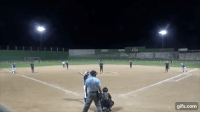 gifs com Softball team intentionally hits umpire with pitch