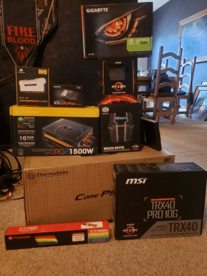 """It's not much, but its mine: GIGABYTE  FIRE  THE  BLOOD  GEFORCE  NVIDIA GT 1030  OC 2G  BAE ASADF TDNGAI OANITAL  AMDA  DORA  CORSAIR  3200NHE  SAMSUNG  RYZEN  2TB  THREADRIPPER  e CUE  VENGEANCE GGB PRO  V-NAND SSD  970 EVOPus NVME M2  COOLER  MASTER  Thermaltake  TOUGHPOWER DPS G SERIES  Make t Yours  Smart Power  OPSGPC/Motle Acp  ASP COUd  DIda ualouay  TRFOLA DRIPP N  Patented  RGB  256 Colors  PSU Fan  Smart Zero Fan  Digitaly controlled tan speed  Thermaitake  10 YEAR  Warranty  oUGHOERG  Fully Modular  Individuailysleeved cobles  Fiat cobles  RYZEN  TOUGHPOWER  WRAITH RIPPER  80  DPS GRGB150OW  THREADRANCA  Near-Silent Thermal Solution with Customizahle lumination  PLUS  TITAN  CR  TE Thermaltake  COOCall-YOUR LIFE  msi  CORE PE  AND MOTHERBOARD  TRX40  ,  PRO 10G  TRX40  AMDA  TTM OD  Sleeve Cable  Cable extehslon  AMDE  PRRDRLERN  WHOLWUDE  APREMAR  TTMOD  Sleeve Cable  Cable extension  RYZEN  Socket STRX4  Multicolor  Thermaltake  Combo  Pack  QUAD PCI EXPRESS"""" 4.0I QUAD CHANNEL DORA MEMORY NVIA SFREADY  THREADRIPPER  hDATSLensCar  1111 It's not much, but its mine"""