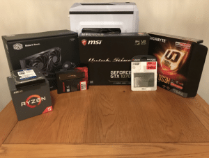 Just about to start my first PC build! Just waiting on my 80+ gold Corsair 650w PSU which will be here soon and it's complete!: GIGABYTE  VR  BAIALIIS N  7 G  Insist Ultra Durable  NDIA  GEFORCE  GTX  Lesting Quality from GIGABYTE  Support Secket  LGA 201151  AMD AM  READY  msi  COOLER  MASTER  Make It Yours.  ULTRA  OURABLE  SOLID-STATE DRIVE  DISQUE FLASH  Kingston  DRIVE A STATO SOLIDO  10x:  FASTER  A 400  240GB  GEFORCE  GTX 1070  DS3H  RGB  wa a  Secke A44  AMD  Kingston  1.0TB  JID  HYPER  Ready  AM RYZEN 000 5KTOP READY  AMD 2 s Comae  YZEN ATHLON  GAMEWORKS ANSEL VRWO  VR  READY  AMD  SOCKET  B450  FREE  AM4  esign  AMD  RYZEN  PREDATOR  ntel  XMP  Certified  HYPER  DDR4  320OMHZ  2*8GB  vREDOTOR Just about to start my first PC build! Just waiting on my 80+ gold Corsair 650w PSU which will be here soon and it's complete!
