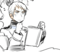 Target, Tumblr, and Blog: gilbert-of-prussia:Prussia looking cool and reading a book. I can die happily now.