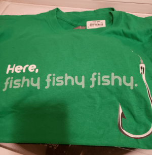 Mum got me this shirt because this IS how I fish (except dad baits my hooks bc I hate hooks.) Little did mum know...this is how I fish in SDV, too. I'm sure some of you can relate. :): Gildan 5000  1 ot 2  XL  ieish grean  Here,  fishy fishy fishy.  ASS Mum got me this shirt because this IS how I fish (except dad baits my hooks bc I hate hooks.) Little did mum know...this is how I fish in SDV, too. I'm sure some of you can relate. :)