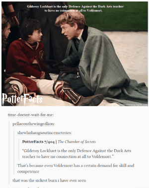 "Teacher, Death, and Time: Gilderoy Lockhart is the only Defence Against the Dark Arts teacher  to have no connection at all to Voldemort.  Potte  cemeteries.tum  time-doesnt-wait-for-me:  pellaeonthewingedlion  shewhohangsoutincemeteries  PotterFacts 7/404 | The Chamber of Secrets  ""Gilderoy Lockhart is the only Defence Against the Dark Arts  teacher to have no connection at all to Voldemort.""  Thar's because even Voldemort hasa cettain demand fr sill and  competence  that was the sickest burn i have ever seen But he would be hilarious as a Death Eater"