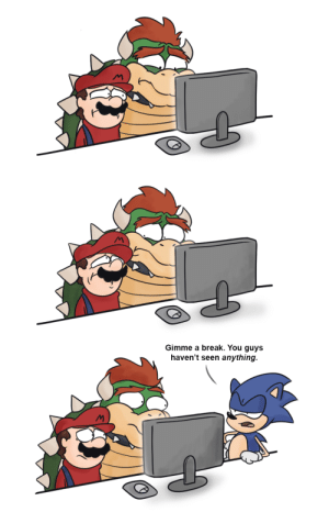 Bowser, Internet, and Tumblr: Gimme a break. You guys  haven't seen anything. elecmon:  omegamodecomic: Mario and Bowser discover the Internet's latest and greatest(?) fad.