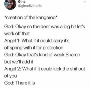 G'day mate: Gina  @ginadivittorico  *creation of the kangaroo*  God: Okay so the deer was a big hit let's  work off that  Angel 1: What if it could carry it's  offspring with it for protection  God: Okay that's kind of weak Sharon  but we'll add it  Angel 2: What if it could kick the shit out  of you  God: There it is G'day mate