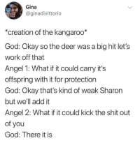 How God made a kangaroo: Gina  @ginadivittorio  *creation of the kangaroo*  God: Okay so the deer was a big hit let's  work off that  Angel 1: What if it could carry it's  offspring with it for protection  God: Okay that's kind of weak Sharon  but we'll add it  Angel 2: What if it could kick the shit out  of you  God: There it is How God made a kangaroo