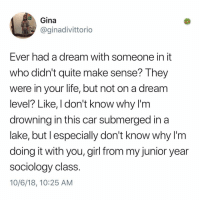 A Dream, Life, and Memes: Gina  @ginadivittorio  Ever had a dream with someone in it  who didn't quite make sense? They  were in your life, but not on a dream  level? Like, I don't know why lľ'm  drownina in this car submerged in a  lake, but l especially don't know why l'm  doing it with you,girl from my junior year  sociology class  10/6/18, 10:25 AM Post 1280: I always have random dreams too with my fiend Caesar and I never know why