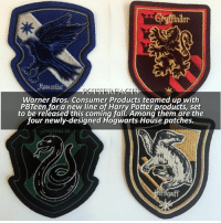 Anaconda, Apparently, and Definitely: Gindor  Warner Bros. Consumer Products teamed up with  PBTeen for a new line of Harry Potter products, set  to be released this coming fall. Among them are the  four newly-designed Hogwarts House patches. NEWS | Snitch Seeker ⠀⠀⠀⠀⠀⠀⠀⠀⠀⠀⠀⠀⠀ — Ooh! I wonder how much they'll be, I'm definitely gonna get the Slytherin and Ravenclaw patch. Apparently they were giving these out for free at SDCC if you visited their booth! — I'm turning off commenting because more than 10 people were using nasty language and whining. If you're going to be negative PLEASE do it somewhere else. I don't need 100 comments telling me why the Ravenclaw crest isn't good. I get it. But I didn't make them. harrypotter fandoms