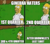 Ginebra haters be like 😂😂😂  Posted By: Red Vanderbilt: GINEBRA HATERS  1STOUARTER 2ND QUARTER  AFTER BROWN LEES  3RD &ATHOUARTER LAST SHOT Ginebra haters be like 😂😂😂  Posted By: Red Vanderbilt