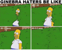 Haters be like 😂😂  Posted by: Ron Demecillo: GINEBRA HATERS BE LIKE  4th 1:30  th 1:00  4th 31 secs  4th 9.6 secs. Haters be like 😂😂  Posted by: Ron Demecillo