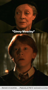 """Memes, Http, and Haha: """"Ginny Weasley""""  Banned in 0 countries  MUGGLENET MEMES.COM <p>Ron&rsquo;s face when prof mcgonagall says ginny weasley haha <a href=""""http://ift.tt/1xmSPn8"""">http://ift.tt/1xmSPn8</a></p>"""